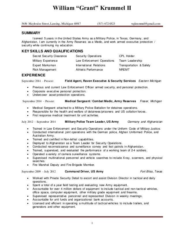 Resume\' KRUMMEL 2015
