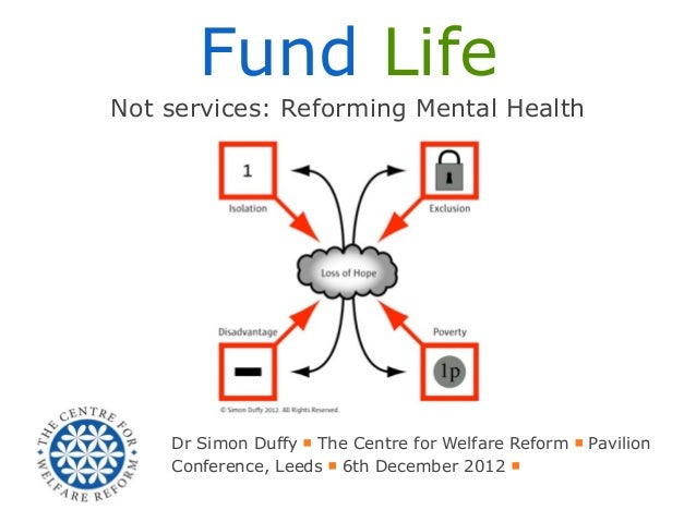 Fund LifeNot services: Reforming Mental Health    Dr Simon Duffy ■ The Centre for Welfare Reform ■ Pavilion    Conference,...
