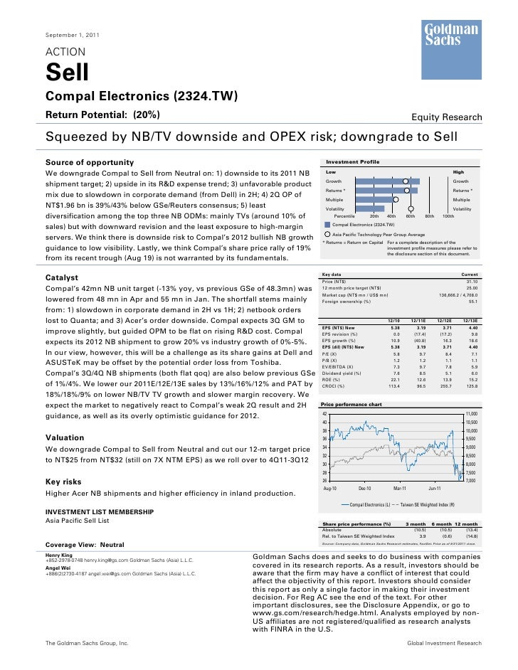 September 1, 2011ACTIONSellCompal Electronics (2324.TW)Return Potential: (20%)                                            ...