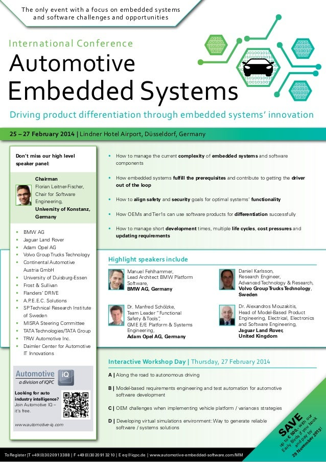 The only event with a focus on embedded systems and software challenges and opportunities  International Conference  Autom...