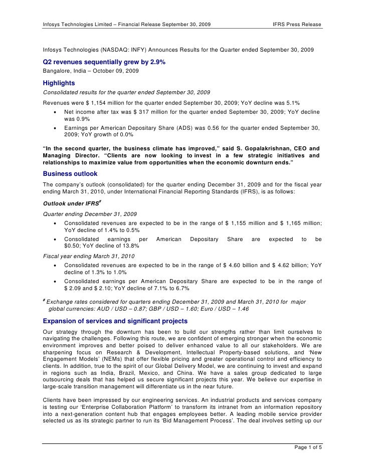 Infosys Technologies Limited – Financial Release September 30, 2009                      IFRS Press ReleaseInfosys Technol...