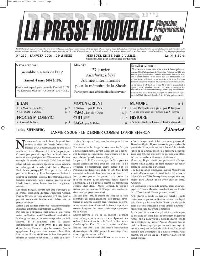 PNM JANV 06 ok  19/01/06  19:22  Page 1  LA PRESSE NOUVELLE  Magazine Progressiste Juif  PNM aborde de manière critique le...