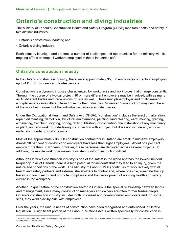 ontario ministry of labour regulations - Business Letters For The Construction Industry Free Download