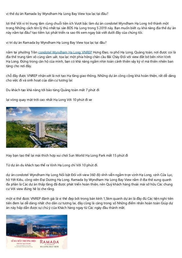 vị thế dự án Ramada by Wyndham Hạ Long Bay View tọa lạc tại đâu? lợi thế Với vị trí trung tâm cùng chuỗi tiện ích Vượt bậc...