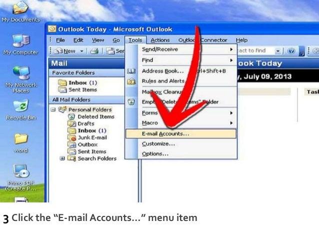 """3 Click the """"E-mail Accounts…"""" menu item"""