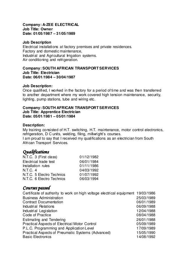 CV Peter De Klerk – Maintenance Electrician Job Description