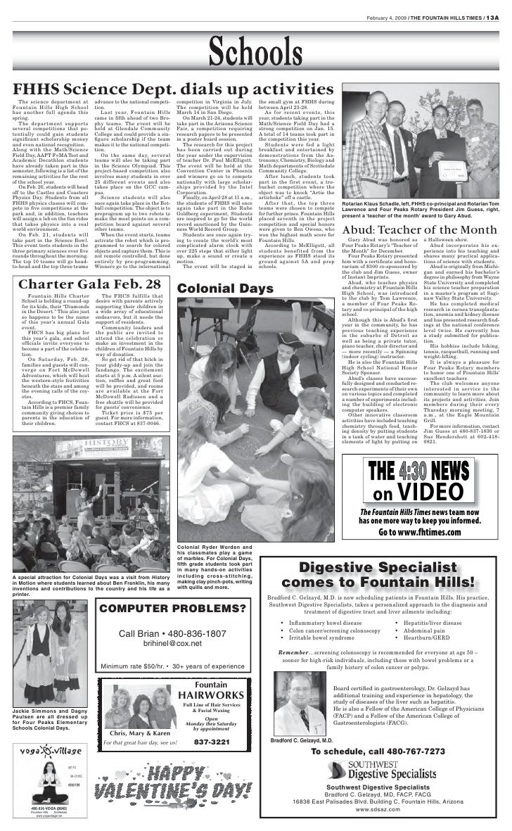 February 4, 2009 / THE FOUNTAIN HILLS TIMES / 13A     FHHS Science Dept. dials up activities    The science department at ...