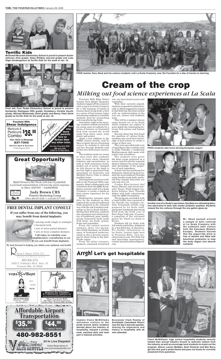 12A / THE FOUNTAIN HILLS TIMES / January 28, 2009     Terrific Kids McDowell Mountain Elementary School is proud to present...