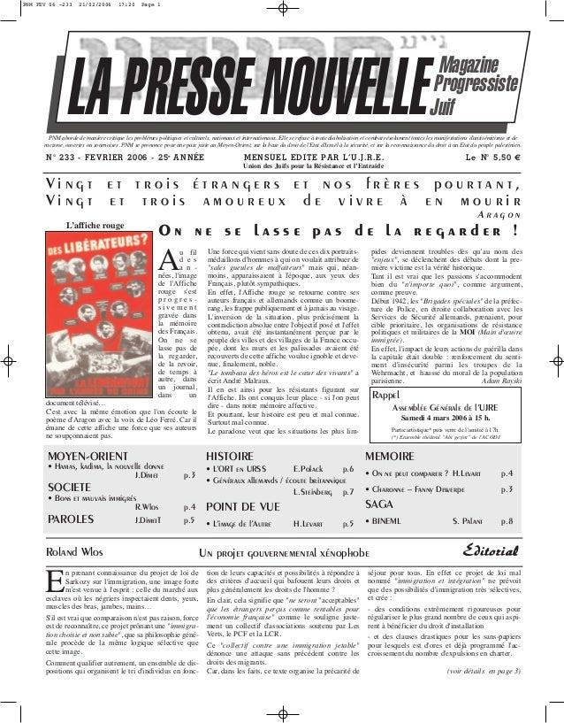 PNM FEV 06 -233  21/02/2006  17:20  Page 1  LA PRESSE NOUVELLE  Magazine Progressiste Juif  PNM aborde de manière critique...