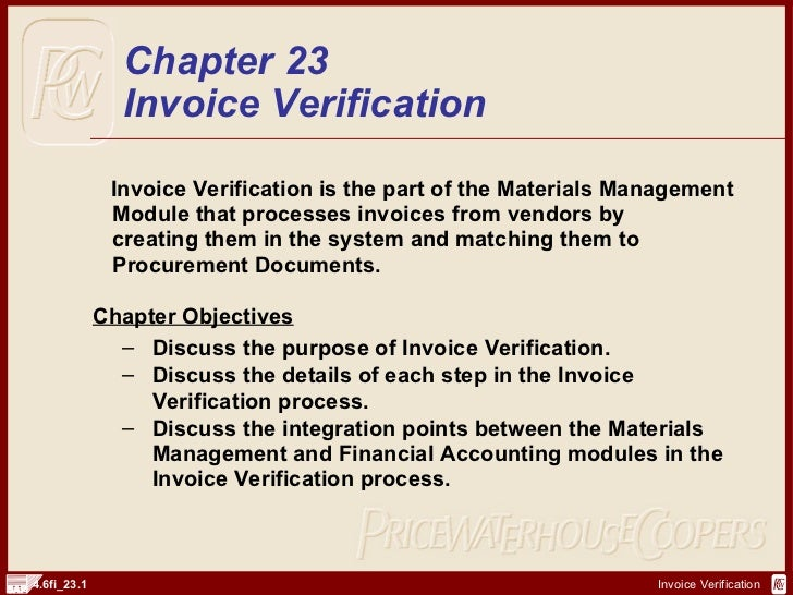Sap Fi Invoice Verification | Http://Sapdocs.Info