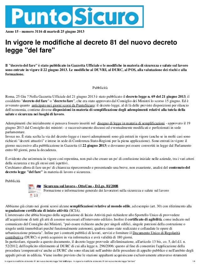 """Anno 15 - numero 3116 di martedì 25 giugno 2013In vigore le modifiche al decreto 81 del nuovo decretolegge """"del fare""""Il """"d..."""