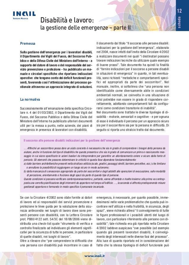 scheda 12 Disabilità e lavoro: la gestione delle emergenze – parte II Il soccorso alle persone disabili: indicazioni per l...