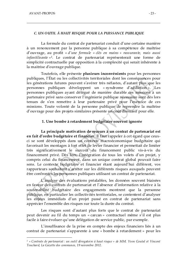 Rapport du s nat les contrats de partenariat des bombes for Contrat de maitrise d ouvrage