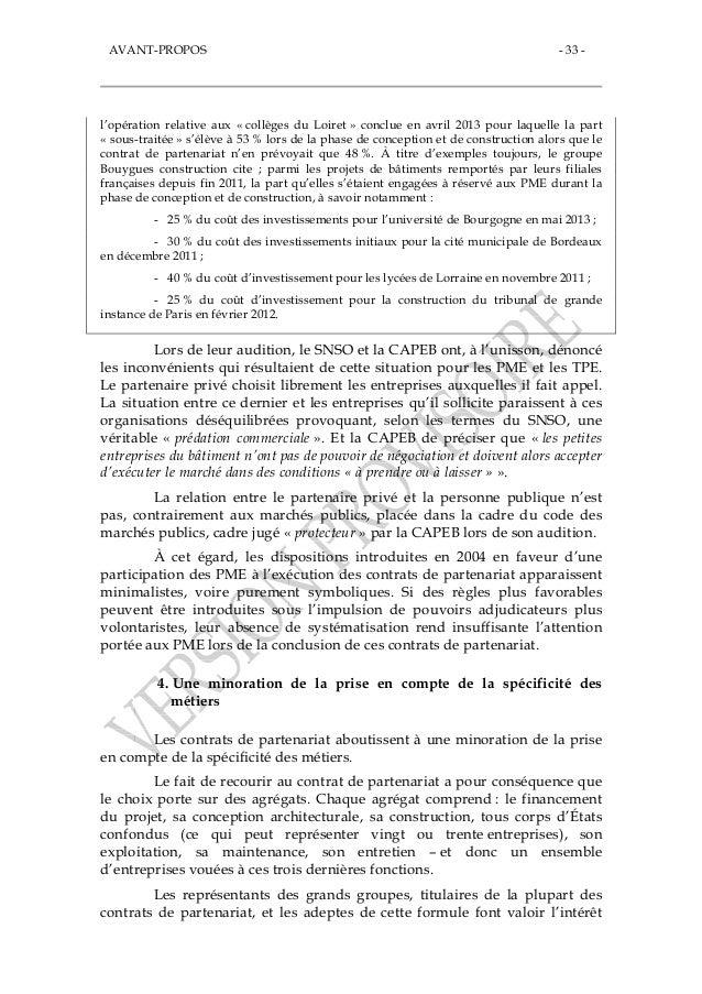Rapport du s nat les contrats de partenariat des bombes for Contrat construction