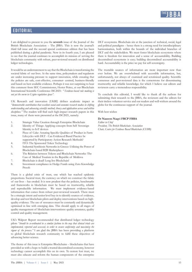 Editorial of the JBBA Vol 4, Issue 1, May 2021. Naseem Naqvi,