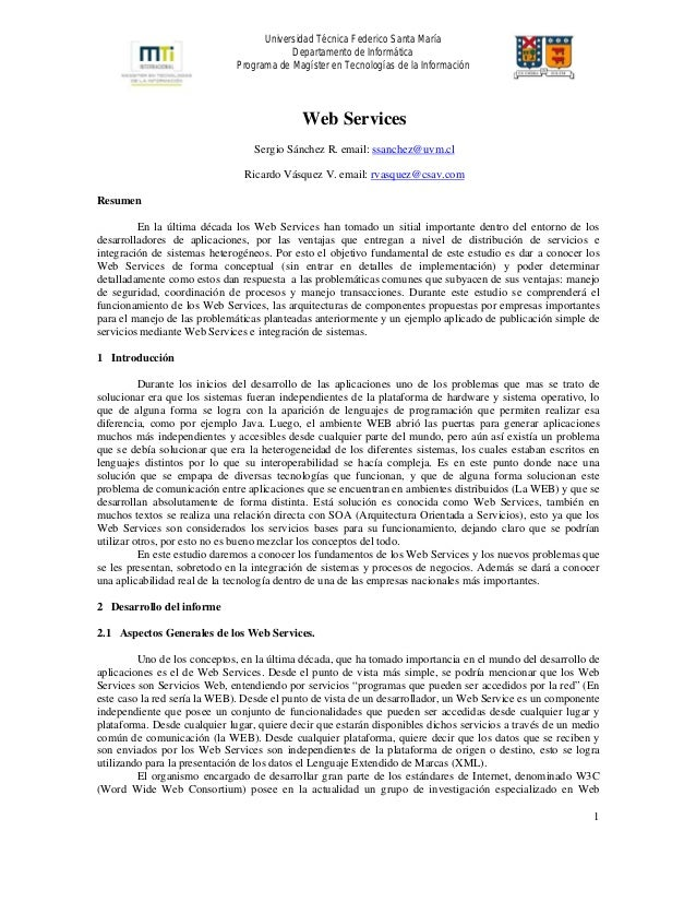 Universidad Técnica Federico Santa María Departamento de Informática Programa de Magíster en Tecnologías de la Información...