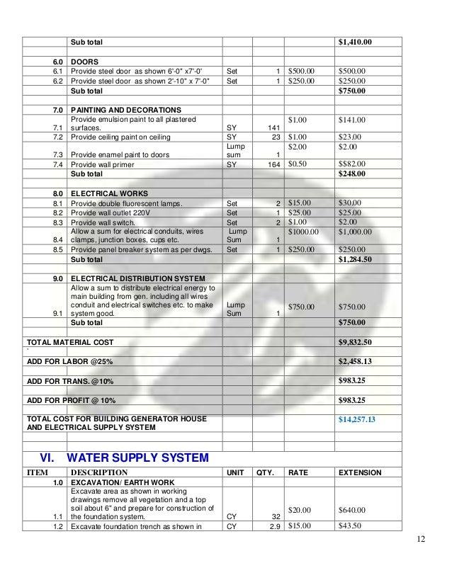 SY 141 $10.00 $1410.00; 12.  sc 1 st  SlideShare & Bill Of Quantities pezcame.com