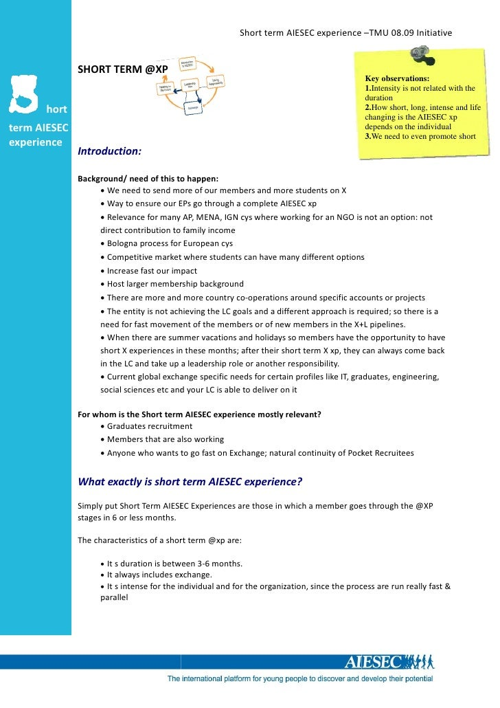 Short term AIESEC experience –TMU 08.09 Initiative                 SHORT TERM @XP   S                                     ...