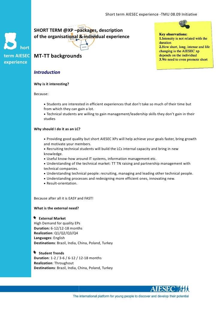 Short term AIESEC experience -TMU 08.09 Initiative                SHORT TERM @XP –packages, description                   ...