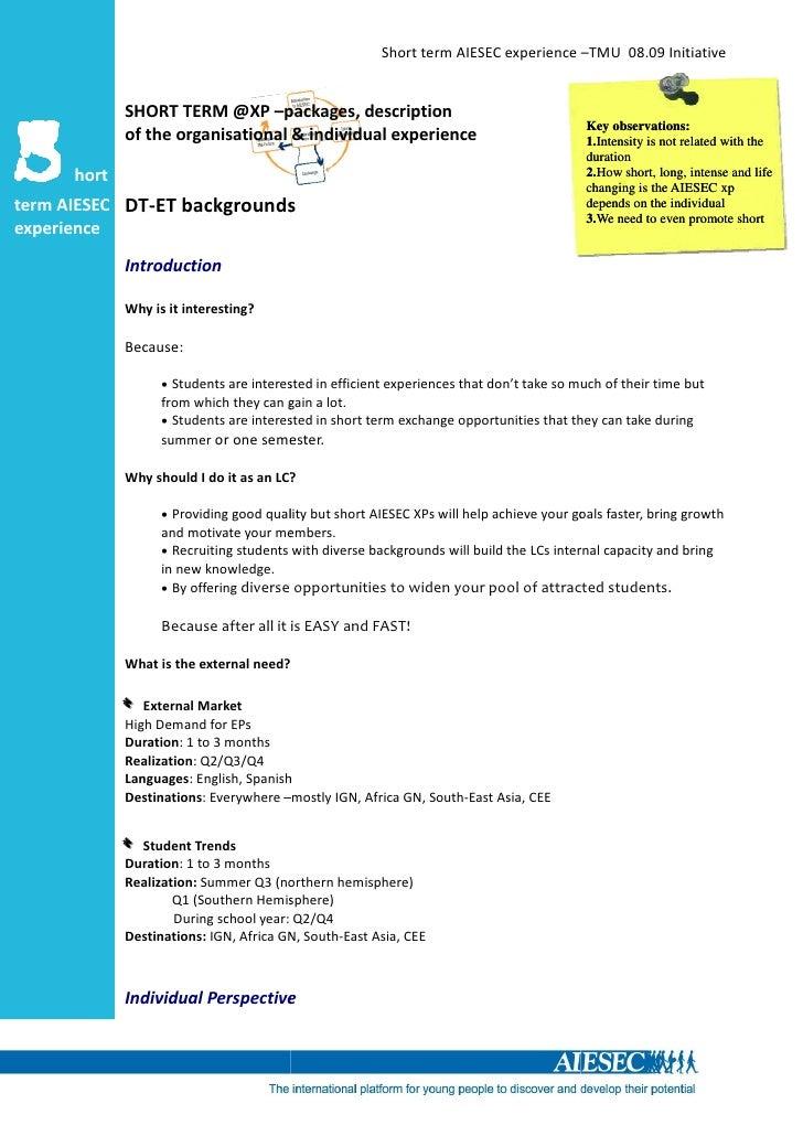 Short term AIESEC experience –TMU 08.09 Initiative                SHORT TERM @XP –packages, description                   ...
