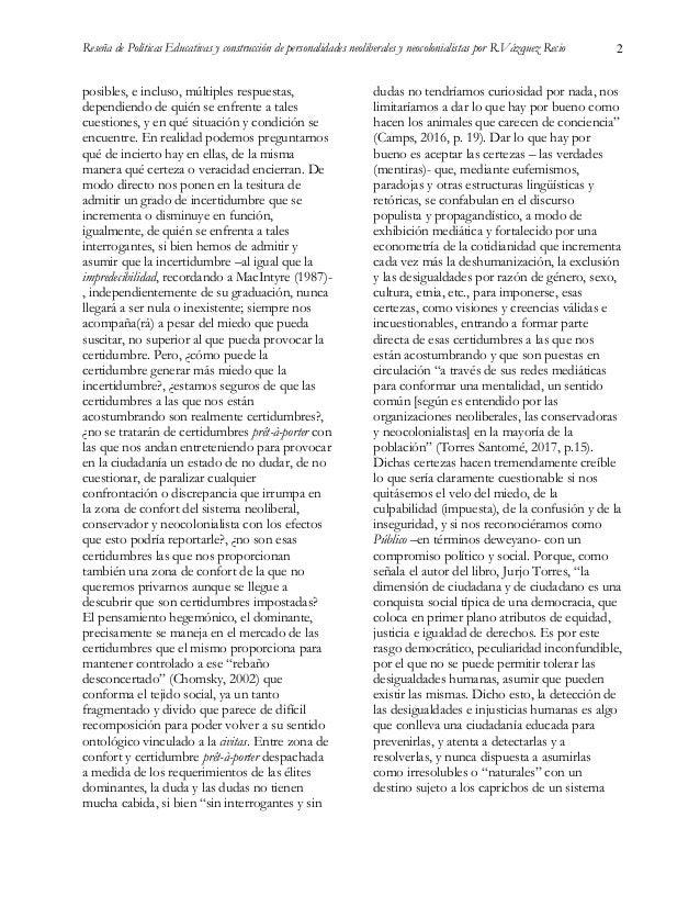 """Reseña del libro """"Políticas Educativas y construcción de personalidades neoliberales y neocolonialistas"""". Madrid: Morata. Slide 2"""