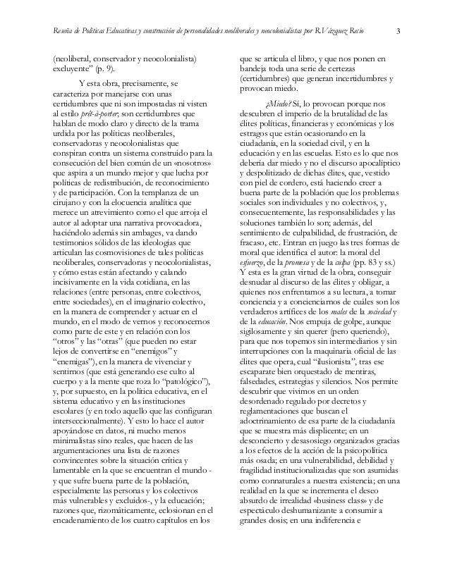 """Reseña del libro """"Políticas Educativas y construcción de personalidades neoliberales y neocolonialistas"""". Madrid: Morata. Slide 3"""