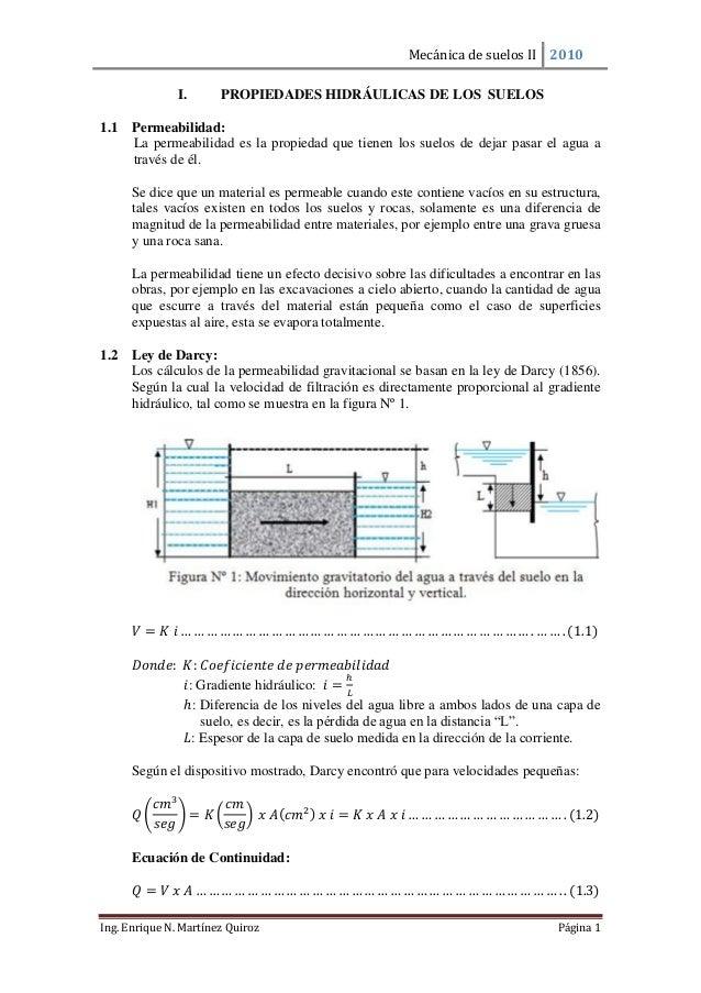Mecánica de suelos II 2010  Ing. Enrique N. Martínez Quiroz Página 1  I. PROPIEDADES HIDRÁULICAS DE LOS SUELOS  1.1 Permea...