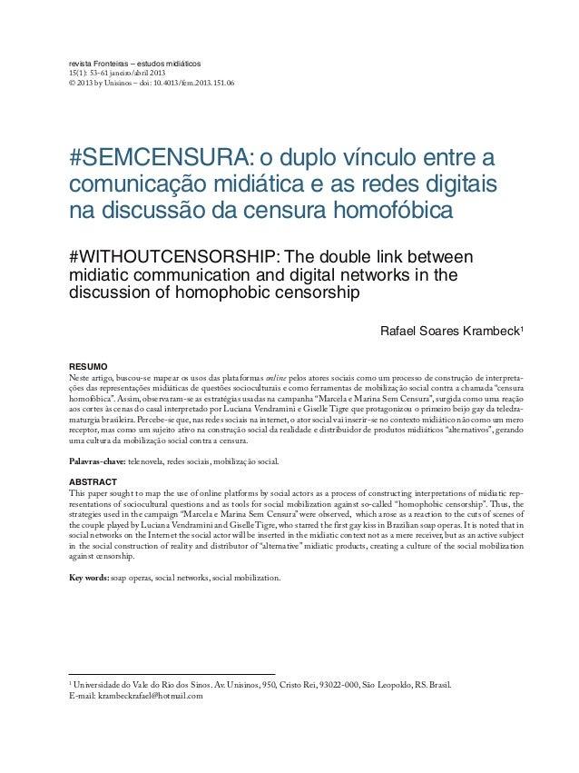 revista Fronteiras – estudos midiáticos 15(1): 53-61 janeiro/abril 2013 © 2013 by Unisinos – doi: 10.4013/fem.2013.151.06 ...