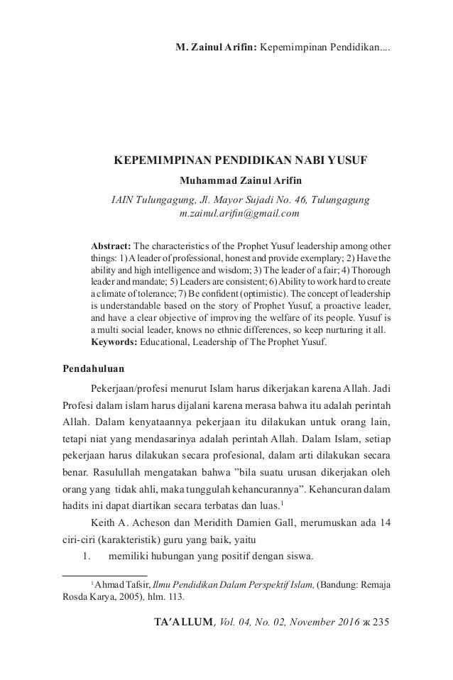 TA'ALLUM, Vol. 04, No. 02, November 2016 ж 235 M. Zainul Arifin: Kepemimpinan Pendidikan.... KEPEMIMPINAN PENDIDIKAN NABI ...