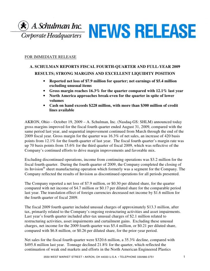 FOR IMMEDIATE RELEASE     A. SCHULMAN REPORTS FISCAL FOURTH-QUARTER AND FULL-YEAR 2009       RESULTS; STRONG MARGINS AND E...
