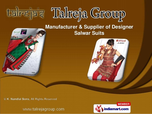 Manufacturer & Supplier of Designer           Salwar Suits