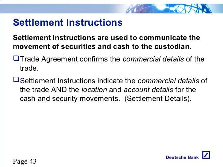 standard settlement instructions example