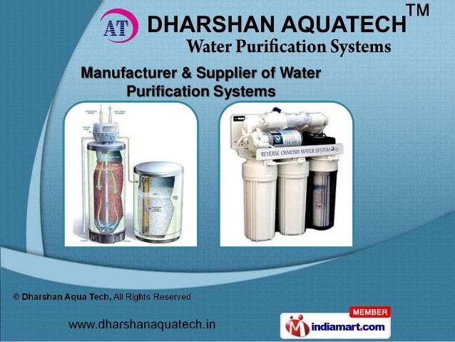 Manufacturer & Supplier of Water     Purification Systems