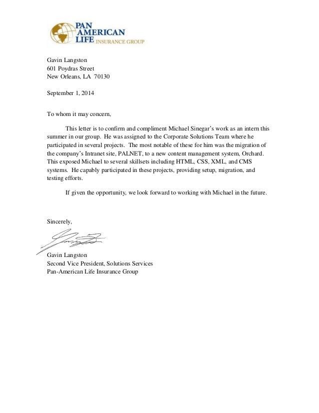 summary letter michael sinegar
