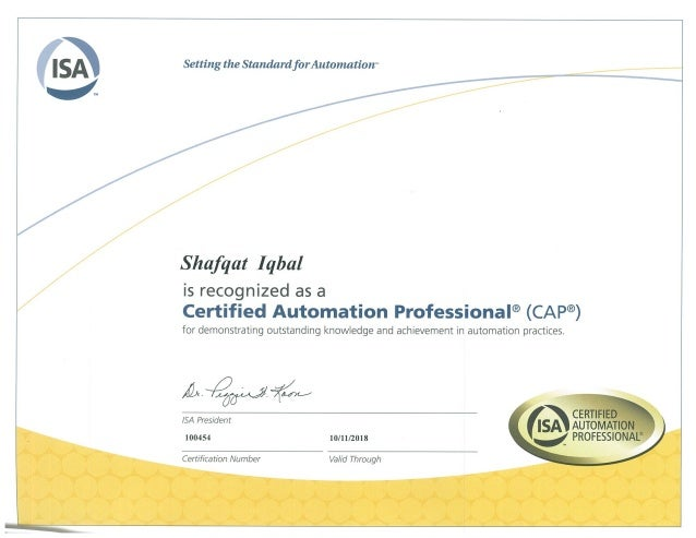 certification cap u00ae certified automation professional  isa