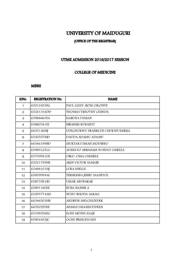 UNIMAID Admission List (UTME) 2016/2017 Released www.alluniversitynew…