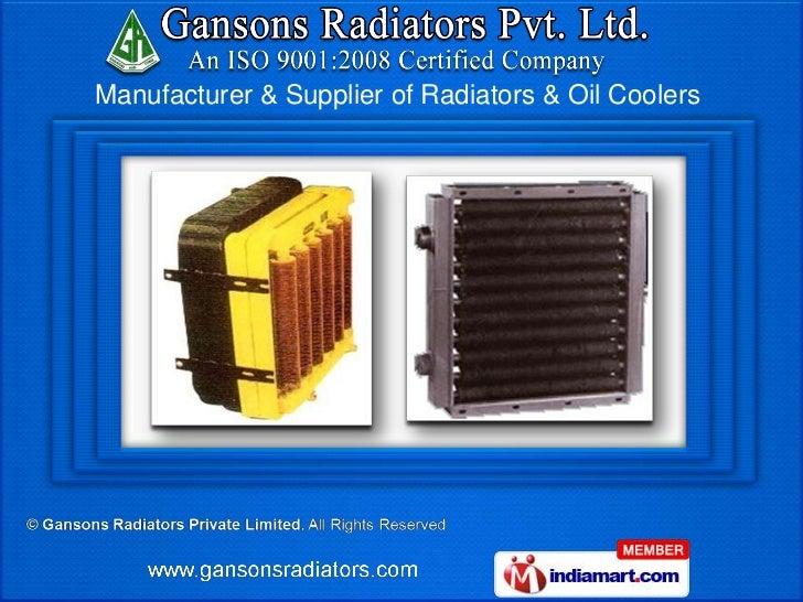 Manufacturer & Supplier of Radiators & Oil Coolers