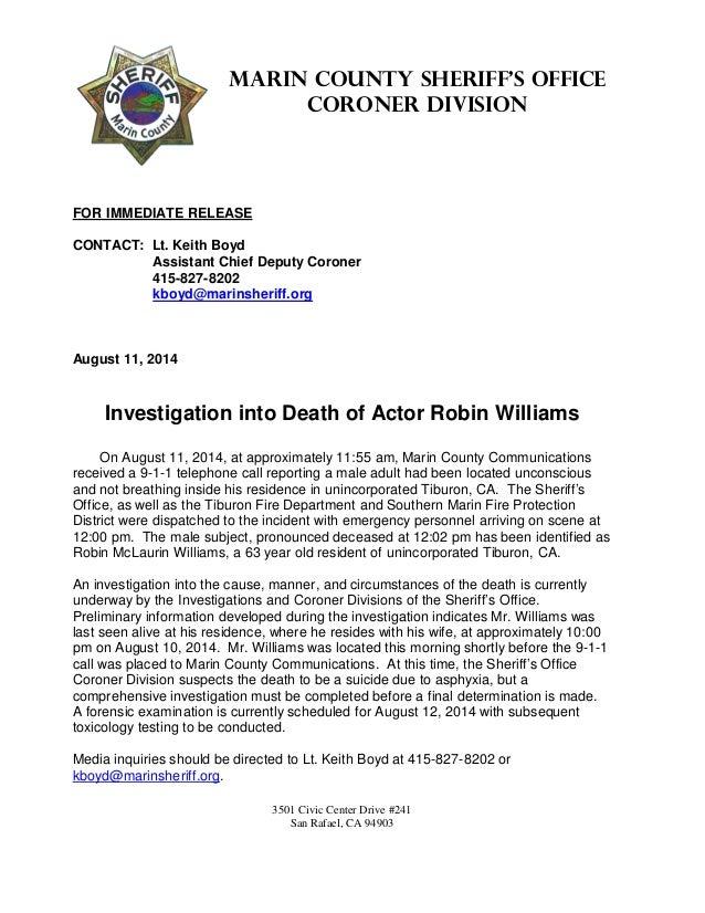 3501 Civic Center Drive #241 San Rafael, CA 94903 Marin County Sheriff's Office Coroner Division FOR IMMEDIATE RELEASE CON...