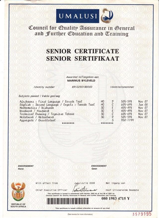 certificate senior slideshare matric sertifikaat upcoming