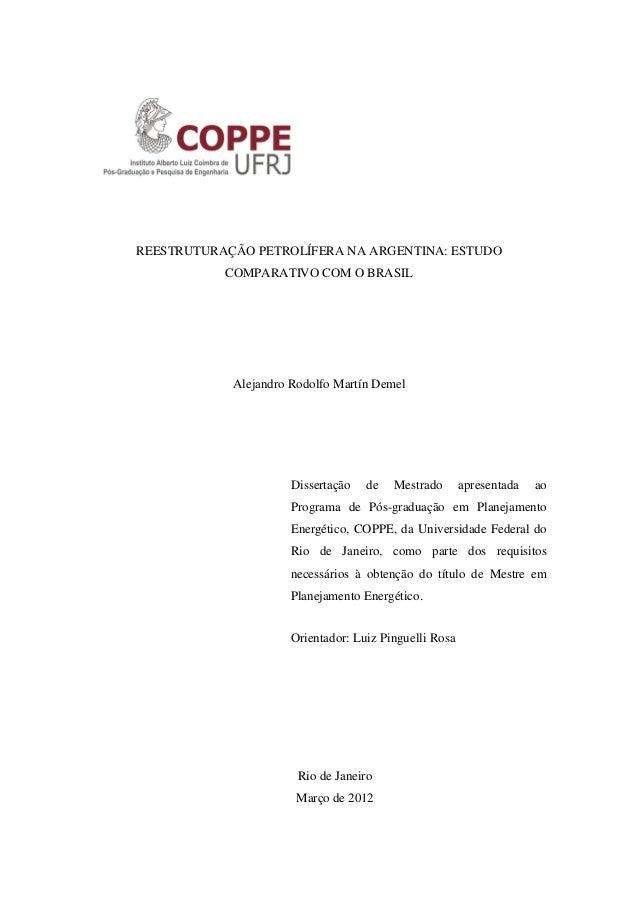 REESTRUTURAÇÃO PETROLÍFERA NA ARGENTINA: ESTUDO COMPARATIVO COM O BRASIL Alejandro Rodolfo Martín Demel Dissertação de Mes...