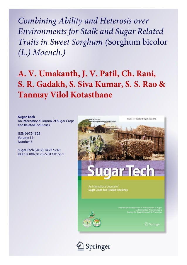 1 23 Sugar Tech An International Journal of Sugar Crops and Related Industries ISSN 0972-1525 Volume 14 Number 3 Sugar Tec...