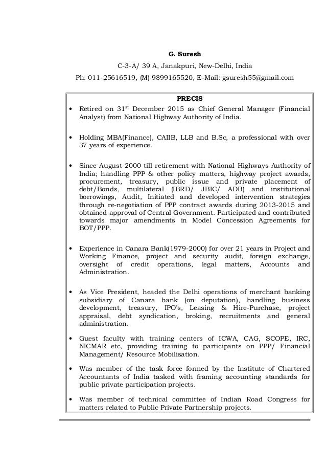 G. Suresh C-3-A/ 39 A, Janakpuri, New-Delhi, India Ph: 011-25616519, (M) 9899165520, E-Mail: gsuresh55@gmail.com PRECIS • ...