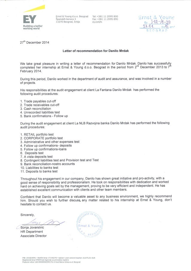 EY - Letter of recommendation