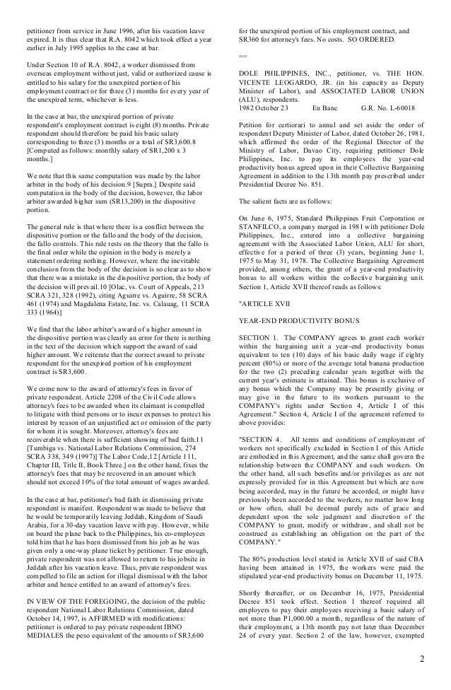 acesite corporation vs nlrc Philippine jurisprudence - mam realty dev corp et al vs national labor relations commission, et al.