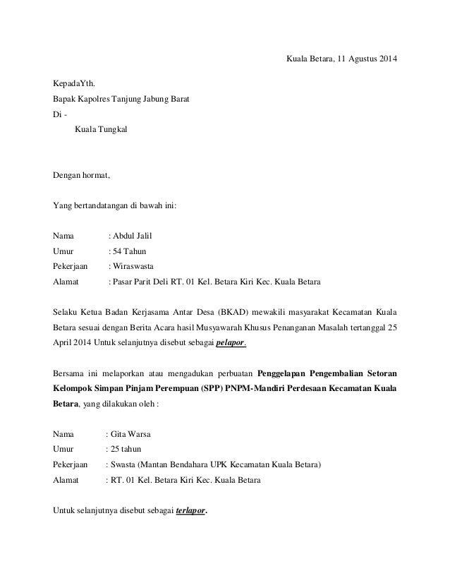 Contoh Surat Pengaduan Ke Ombudsman