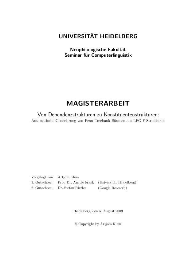 UNIVERSITÄT HEIDELBERG Neuphilologische Fakultät Seminar für Computerlinguistik MAGISTERARBEIT Von Dependenzstrukturen zu ...