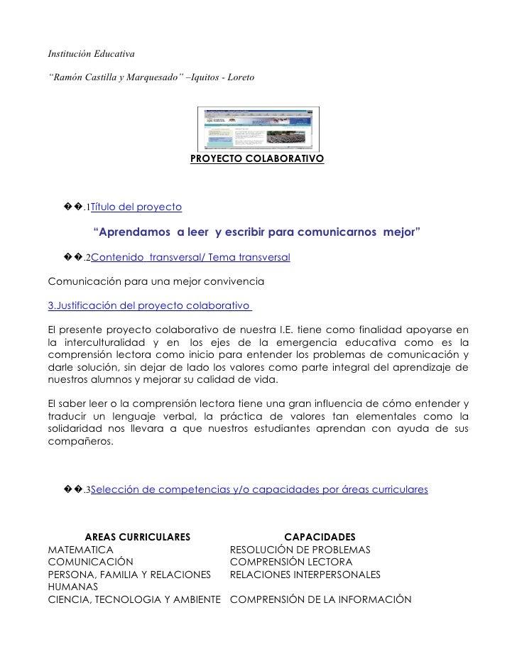 """Institución Educativa  """"Ramón Castilla y Marquesado"""" –Iquitos - Loreto                                     PROYECTO COLABO..."""