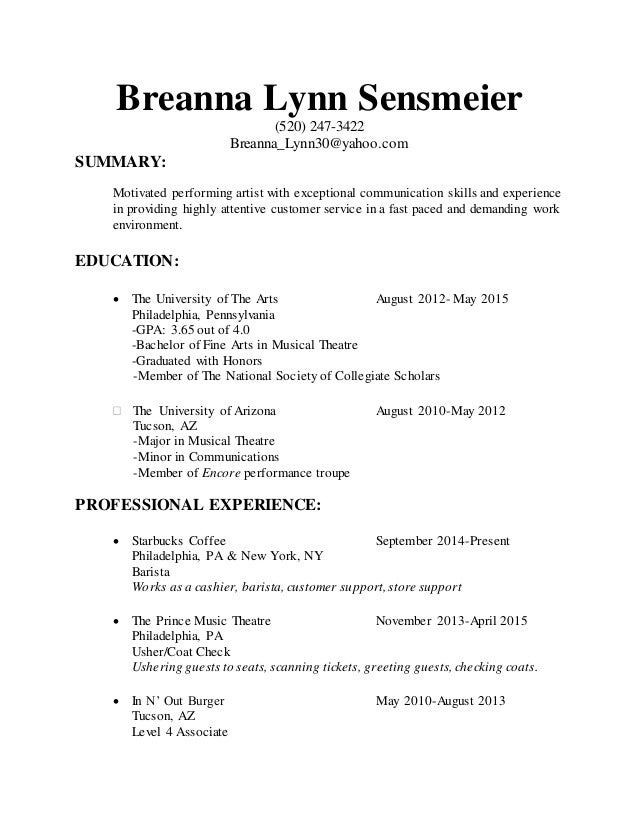 Barista Resume