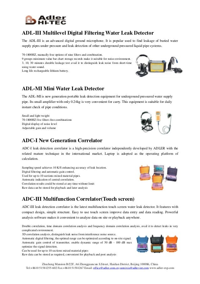 Catalogue for Water Leak Detection equipment from Adler 2014