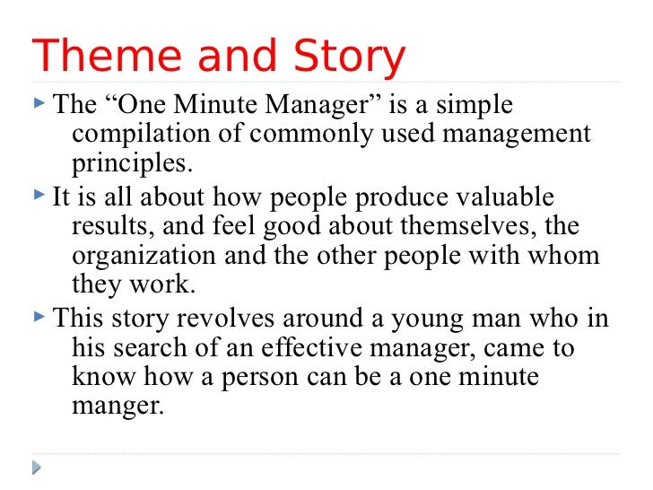 "story of one minute manager 5 theme and story the ""one minute manager"""